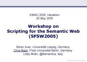 ESWC 2005 Heraklion 30 May 2005 Workshop on