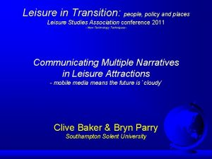 Leisure in Transition people policy and places Leisure