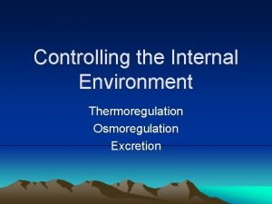 Controlling the Internal Environment Thermoregulation Osmoregulation Excretion Thermoregulation