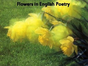 Flowers in English Poetry You like flowers dont