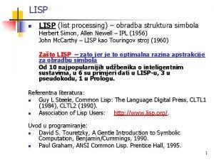 LISP n LISP list processing obradba struktura simbola