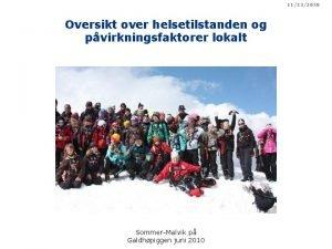 11232020 Oversikt over helsetilstanden og pvirkningsfaktorer lokalt SommerMalvik