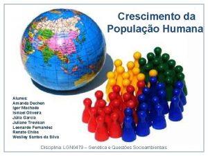 Crescimento da Populao Humana Alunos Amanda Dechen Igor