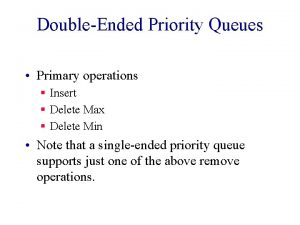 DoubleEnded Priority Queues Primary operations Insert Delete Max