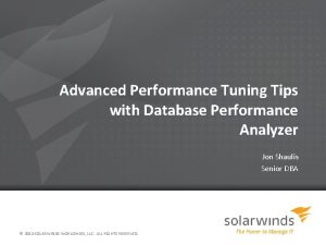 Advanced Performance Tuning Tips with Database Performance Analyzer