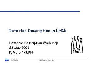 Detector Description in LHCb Detector Description Workshop 22