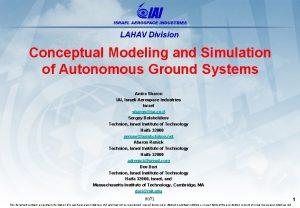 LAHAV Division Conceptual Modeling and Simulation of Autonomous