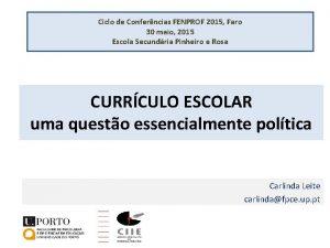 Ciclo de Conferncias FENPROF 2015 Faro 30 maio