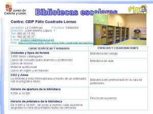 Centro CEIP Flix Cuadrado Lomas Localidad La Cistrniga