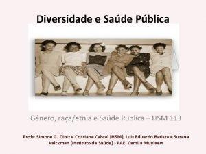 Diversidade e Sade Pblica Diversidade Gnero raaetnia e