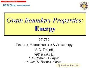 1 Grain Boundary Properties Energy 27 750 Texture