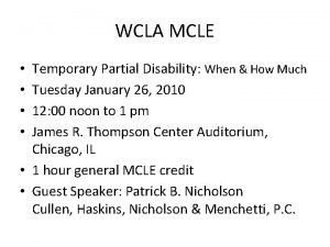 WCLA MCLE Temporary Partial Disability When How Much