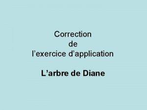Correction de lexercice dapplication Larbre de Diane Travail