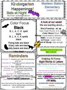 Kindergarten Happenings Madison Station Elementary October 21 25