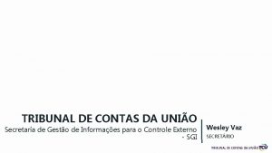 TRIBUNAL DE CONTAS DA UNIO Secretaria de Gesto