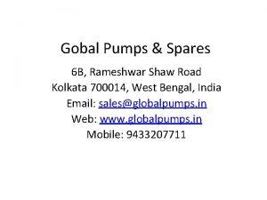 Gobal Pumps Spares 6 B Rameshwar Shaw Road