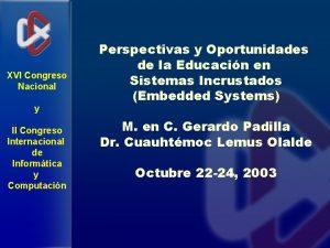 XVI Congreso Nacional y II Congreso Internacional de