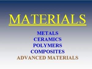 MATERIALS METALS CERAMICS POLYMERS COMPOSITES ADVANCED MATERIALS ME