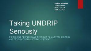 Preston Hardison Tulalip Tribes WIPO IGC 24 April