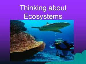 Thinking about Ecosystems Ecosystems and Biomes are large