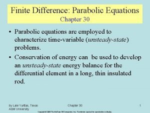 Finite Difference Parabolic Equations Chapter 30 Parabolic equations