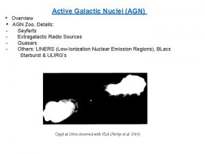 Active Galactic Nuclei AGN Overview AGN Zoo Details