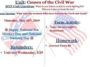 Unit Causes of the Civil War MYP Unit