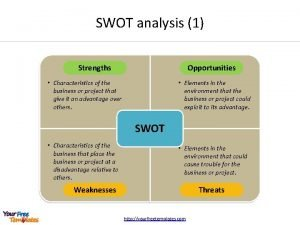 SWOT analysis 1 Strengths Opportunities Characteristics of the
