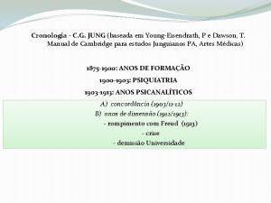 Cronologia C G JUNG baseada em YoungEisendrath P