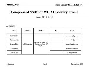 March 2018 doc IEEE 802 11 180356 r