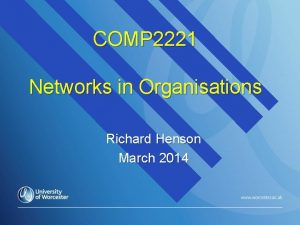 COMP 2221 Networks in Organisations Richard Henson March