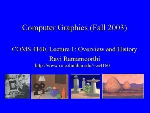 Computer Graphics Fall 2003 COMS 4160 Lecture 1