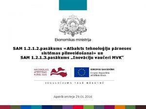 SAM 1 2 paskums Atbalsts tehnoloiju prneses sistmas