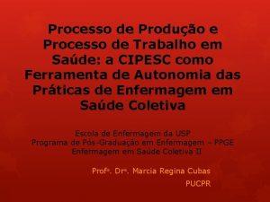 Processo de Produo e Processo de Trabalho em