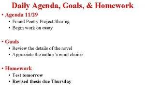 Daily Agenda Goals Homework Agenda 1129 Found Poetry
