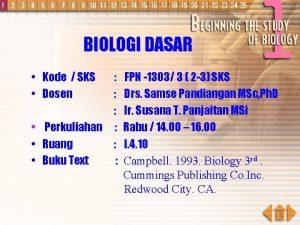 BIOLOGI DASAR Kode SKS Dosen Perkuliahan Ruang Buku