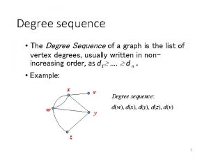 Degree sequence The Degree Sequence of a graph