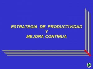 ESTRATEGIA DE PRODUCTIVIDAD Y MEJORA CONTINUA ESTRATEGIA DE