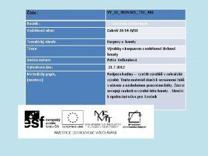 slo VY32 INOVACE TEC488 Ronk 2 Cukrsk technologie