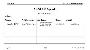 May 2019 doc IEEE 802 11 190618 r