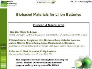 Biobased Materials for Li ion Batteries Duncan J