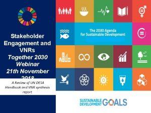 Stakeholder Engagement and VNRs Together 2030 Webinar 21