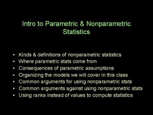 Intro to Parametric Nonparametric Statistics Kinds definitions of