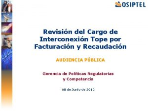 Revisin del Cargo de Interconexin Tope por Facturacin