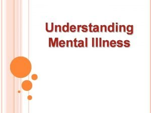Understanding Mental Illness What is a mental disorder