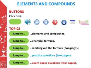 ELEMENTS AND COMPOUNDS BUTTONS Click here Clicking here