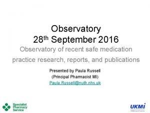 Observatory th 28 September 2016 Observatory of recent
