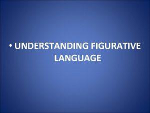 UNDERSTANDING FIGURATIVE LANGUAGE Understanding Figurative Language Introduction A