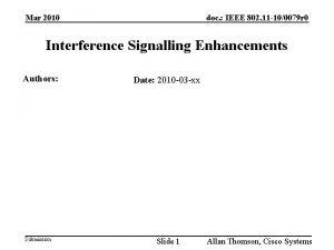doc IEEE 802 11 100079 r 0 Mar