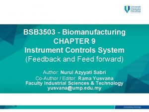 BSB 3503 Biomanufacturing CHAPTER 9 Instrument Controls System